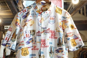 80's unknown route 66 printed cotton s/s Shirt