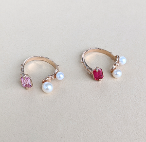 Pearl & Ruby / Pink Spinel Ring