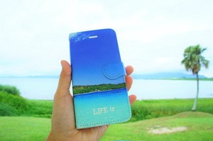 LIFE is BEACHヤシ手帳型スマホケース iPhone Plus、Android L用