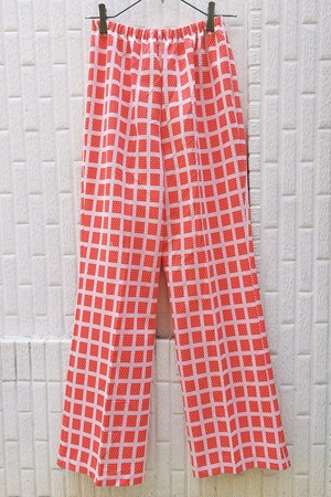 EURO VINTAGE / 70s POLYESTER FLARE PANTS.(DOT×CHECKED)