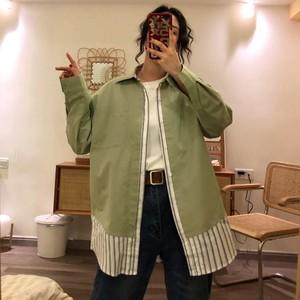 【アウター】韓国風カジュアル春秋配色切り替えしフェイクレイヤード長袖シャツコート