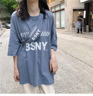【トップス】学園風アルファベット五分袖Tシャツ