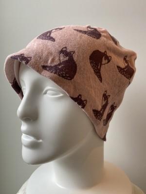 狐柄生地のケア帽子 ピンク系