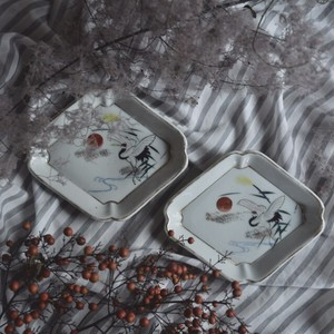 【鶴平皿】芒 朝焼 菱形皿
