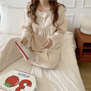 【パジャマ】ローズパターン フリルパジャマ