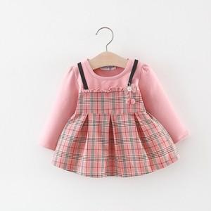 【子供服】キッズガールズ ファッション チェック柄長袖ワンピース23154222