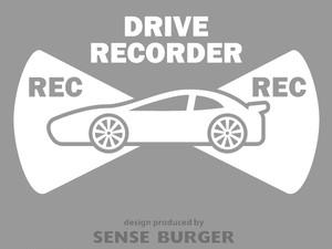 ●REC 前後録画 ドラレコ ドライブサイン REC DRIVE RECORDER 車 スポーツ 搭載車 録画中 撮影中 ドライブレコーダー ステッカー カッティングシート シール 車に貼れる 監視 防犯 白 ホワイト【sti07311whi】