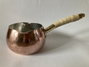 銅製ミルクパン(中サイズ:口径12㎝) ※柄:藤巻きタイプ ※受注品
