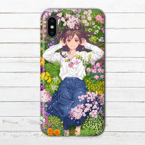 #056-007 iPhoneケース スマホケース iPhoneXR イラスト 女の子 Xperia iPhone5/6/6s/7/8 ケース 花柄 おしゃれ ARROWS AQUOS Galaxy タイトル:春が奏でる 作:ミナミ