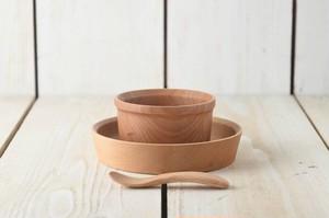 木製子ども食器3点セット グランデック アース 箱入りギフトセット[インドネシア製/洋食器]