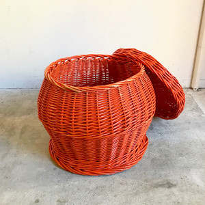 Vintage Paint Rattan Basket Table 70's オランダ