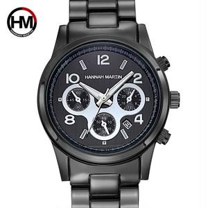 1セットクラシックレディースローズゴールドトップブランドラグジュアリーレディドレスビジネスファッションカジュアル防水時計クォーツカレンダー腕時計1038 Black