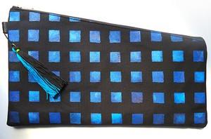 クラッチバッグ  Large 「Blue Window / ブルーウィンドウ」 All HandMade!