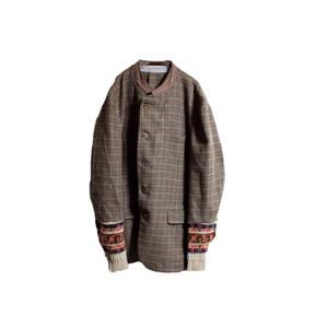 Check Jacket Docking Knit Sleeves