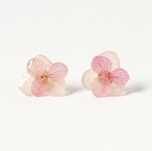 ひとひら紫陽花のピアス ダブル*ピンクホワイト*PC004