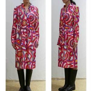 S~Lサイズ【アメリカ製古着】1960年代ヴィンテージ◆ピンク レッド グリーンのカラフル配色◆ミドル丈ワンピース