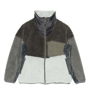 BOA × FLEECE HIGH-NECK ZIP-UP JACKET - GRAY