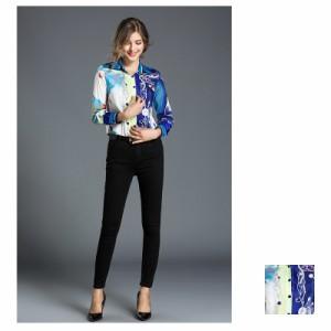 トップス ブラウス・シャツ 定番スタイル 主役シャツ きれいめ オフィス 薄手 スカーフ柄 フォーマル 通勤 ブルー S M L XL