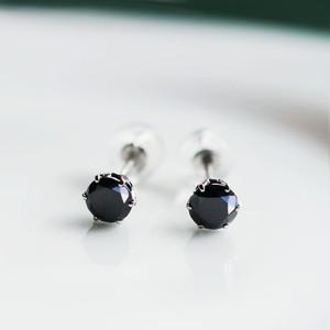 Pt900 メンズライクなブラックダイヤモンド ピアス 片方0.3ct