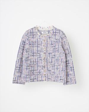 【COOHEM】スプリングエアーツイードジャケット : ホワイト