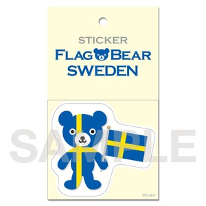 FLAG BEAR STICKER <SWEDEN> スウェーデン (大(L))