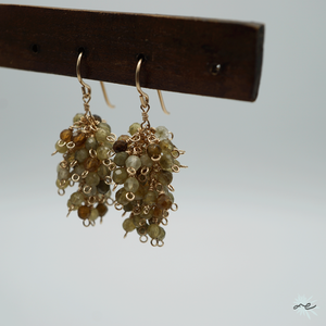 Forest-Earrings(Green Garnet)/K14 gf