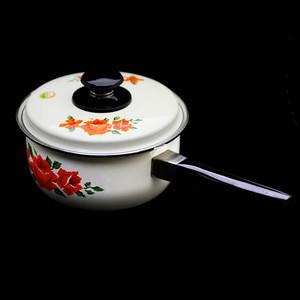 昭和レトロ 新品! ばら柄 1.8L 片手ホーロー鍋 (143)