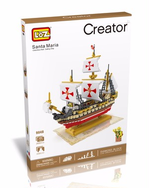 LOZ Diamond Blocks Santa Maria DIY Building Toys Columbus  Fleet Sailing Ship Educational Blocks for Children Gifts 9048