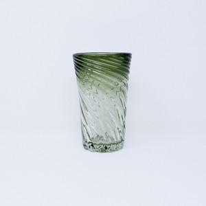 ガラス工房清天 サマーモールグラス モスグリーン 琉球ガラス