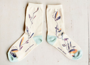 cotton socks (print)     鳥と羽ペン  [LADYS]