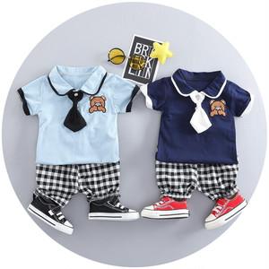 【baby】半袖Tシャツチェック柄パンツセットアップボーイズ