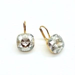 ピアス スクエア 一粒石 シルバーシェード KRiKOR ドイツ製 Pierce One Square Stone Silver Shade