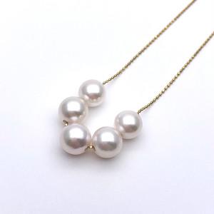 アコヤ真珠 5粒 スルーペンダント あこやパール K18 日本製ゴールドチェーン