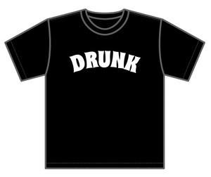 DRUNK Tシャツ ブラックボディー/ホワイトインク