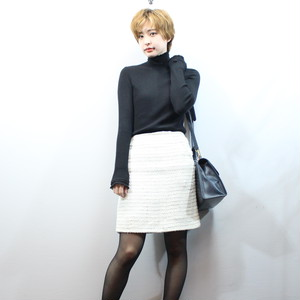 2000000028057 CHANEL 05C COCO MARC TWEED TIGHT SKIRT MADE IN FRANCE/シャネルココマークツイードタイトスカート