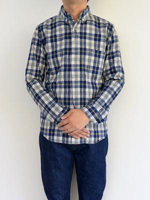 nisica(ニシカ)ネルチェック ボタンダウンシャツ NV×YE