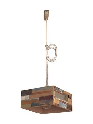 吊り下げランプ(木のパッチワーク 正方形)