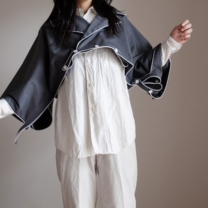 short!short!オーバーコート 【Short-length overcoat of cotton elastic 】-Piping of white to blue gray-