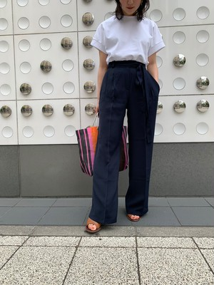 【予約】centerpress straight pants / navy (8月上旬発送予定)