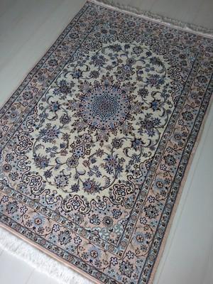 Persian Rug Nain Medallion Pale Pink + Blue 147x102cm Wool / Silk