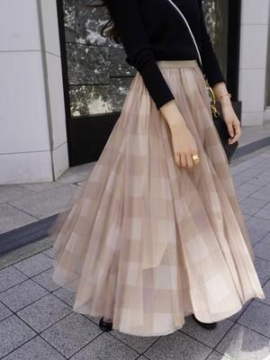 block check tule skirt / beige × beige check (即納)
