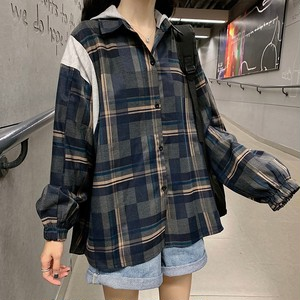 【トップス】春服新作韓国風chicフード付き切り替え切り替えチェック柄シャツ