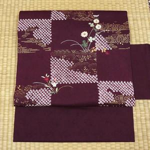 桑の実色に絞りと花の刺繍 名古屋帯