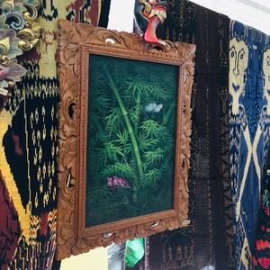 「小鳥と竹」バリ絵画 木製額入り