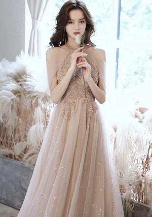 シャンパン  ドレス ロングドレス メッシュ パーティードレス TM0189