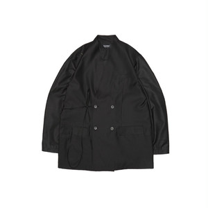 Silky Tied Double-breasted Jacket ダブルジャケット ブラック