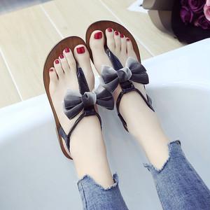 【sandal】2018 summer new Korean flat bow soft  fashion beach sandal