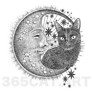 """タトゥーシール/猫の絵、イラスト猫雑貨・""""月と黒猫"""" Cat Tattoo"""
