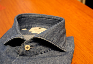 Giannetto Vinci Fit Wash Denim Shirts Chiaro