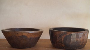 antique wood big bowl
